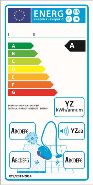 Current commercial vacuum cleaner eco label